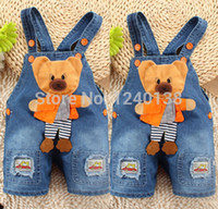 Wholesale Boys 24 Months Jeans - Wholesale-2015 NEW Newborn Baby Girls Boys Kids Denim Jeans One-pieces bear Rompers Playsuits Clothes FREE SHIPPING