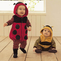Wholesale Bee Costume Toddler - Wholesale-Baby Clothes Toddler Fleece Ladybird Bee Costume Fancy Dress Romper Outfit 0 24M