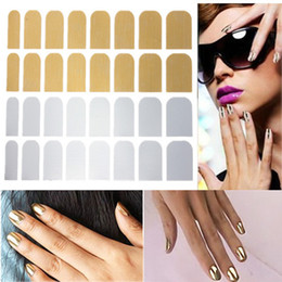 Décalcomanies Patchs Ongles Pas Cher-Wholesale-1 Fiche Or Argent Nail Art Decal Sticker Patch Foils Conseils Wraps bricolage Décorations Fashion Nails Stickers Outils