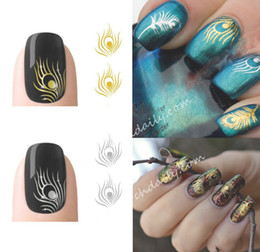 Wholesale peacock stickers - Wholesale-2 Sheet Fashion Sliver &Gold Peacock Feather Nail Art Stickers Decals Nail Tools tip Sticker Decoration