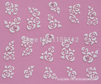 Wholesale Nail Art Metal Rose - Wholesale-Free Shipping 3D Nail Art Stickers Decal White Rose Flowers Clear Crystals Design French Manicure Foils Stamping Tools