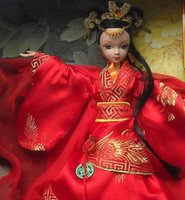 Wholesale Kurhn Doll Chinese - Wholesale-New 29CM Tall Real Eyelashes Kurhn Bobby Doll Chinese Bride with Han Dynasty wedding dress, Gift Set Model Toy