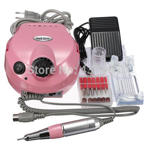 Wholesale-Pro 220V Electric File Buffer Bits Machine Set Electric Nail Art Drill Manicure Pedicure Nails Tool Kit