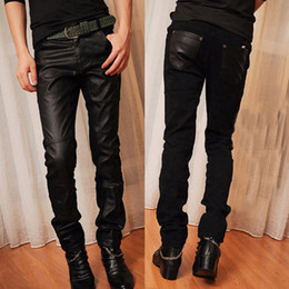 Wholesale Leather Pants Skinny Jeans - Wholesale-Mens Casual Chaparajos Boys Faux Leather Skinny Pencil Pants Trousers Hot Jeans Free&Drop Shipping