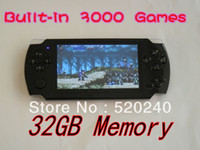 Wholesale Game Console Camera - Wholesale-Top Quality 4.3 inch LCD Screen MP4 MP5 Players 32GB Games console Free 3000 Games+E-book+FM+Camera 1pc Free Shipping