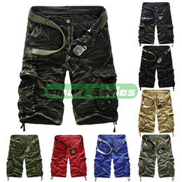 Wholesale Mens Casual Military - Wholesale-Hot Sale Summer Loose Camouflage Cargo Board Shorts Cotton bermuda masculina Casual Mens Multi-pocket Military Short