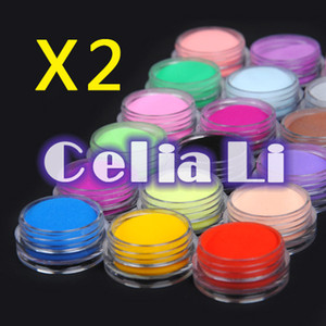 Wholesale-2 sets of 18 Color acrylic Powder liquid Glitter Nail Art Tool Kit UV Dust gem 1161