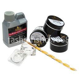 Wholesale Square Tip Acrylic Nails - Wholesale-Free Shipping Nail Beauty Art Kit Acrylic Liquid Crystal Dappen Powder Brush Pen Dish DIY Tool Set