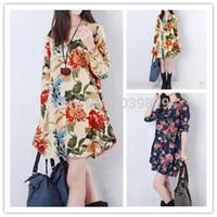 uzun keten elbise xxl toptan satış-Toptan-Artı Boyutu S-XXL Kadın Giyim Yeni Moda Sonbahar Vestido Çiçek Baskı Keten Casual Gevşek Uzun Kollu V Boyun Elbiseler