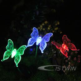 Wholesale Garden Solar Light Butterfly - Wholesale-Solar Color-Changing Butterfly Garden Stake Light Freeshipping Dropshipping Wholesale