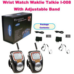 Wholesale Radio Walkie Talkie Kids - Wholesale-Unique 2PCS Wrist Watch Walkie Talkie I-008 With Adjustable Band(USA:22 Channel,Europe:8 Cahnnels) Mini watch radio for kids
