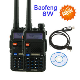 Wholesale 8w Dual Band Walkie Talkie - Wholesale-walkie talkie pair baofeng pofung uv 5r High power version UV-8HX, 1 4 8W power vhf uhf dual band ham radio +programming cable