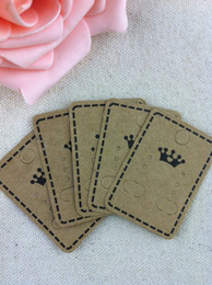 Wholesale Display Packaging Paper - Wholesale-Free Shipping! Wholesale 200pcs lot Brown Paper Crown Custom Jewelry Earring Packaging Display Cards