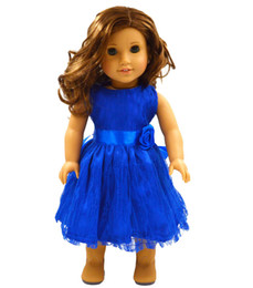 "Wholesale American Girl Dolls Clothes - Wholesale-Doll Clothes fits 18"" American Girl Handmade blue Party Dress 18 inch doll clothes MG006"