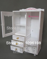 Wholesale Closet For Accessories - Wholesale-Free shipping, girl birthday gift, 1 play toy furniture closet wardrobe shoe cabinet +10 accessorries+10 hangers for barbie doll