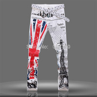 британские джинсы оптовых-Wholesale-Mens UK British Flag Jeans Pants Colored Drawing Tower Printed Fashion SKinny White Jeans Casual Stretch Jeans Trousers for Men