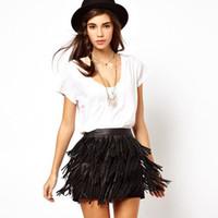 Wholesale Fringed S - Wholesale-Hottest 2015 European style Fashion PU Leather Black Fringed Skirt Three-Lined Skirts HJH3-37 #MY