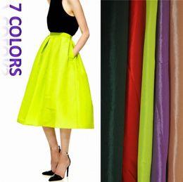 Wholesale Khaki Calf Length Skirt - Wholesale-7 Colors Celebrity Style Women Ladies Flowy Volume Neon Coloured Silky Midi Calf Length Tiered Skirt Pleated Skirt Flared Skirt