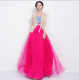 Wholesale Dip Hem - Wholesale-floor length women new 2015 high waist three layer mesh candy color bow lacing dip hem maxi long skater skirt