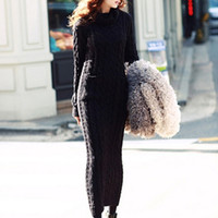 Wholesale Long Sleeve Korean Maxi Dress - Wholesale-Maxi Knitted Sweater Dress Bodycon Long Sleeve Wool Turtleneck Pencil white korean plus size warm ladies women winter 2015
