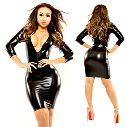 Wholesale Pvc Dress Xl - Wholesale-Fashion Women Bandage Dress Ladies' PVC Dress Leather Sexy Party Bodycon Women Deep V Neck Clubwear Midi Dress Black XXL