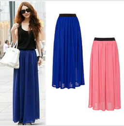 Wholesale-2015 Fashion Style Skirt New Women Sexy Chiffon Long Skirt High Quality 20 colors Nice design Boho Skirts M0079
