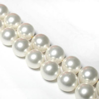 Wholesale Shell Bead White - 10mm White South Sea Shell Pearl Loose Beads 15'' 2pc lot