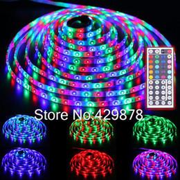 Wholesale Smd 3528 Led Strip Multicolor - Wholesale-5m RGB Multicolor 300 LED 3528 SMD Waterproof Strip Light 60leds m String Bulb Lamp 12V+ 44 Key Remote led lamp lamps led bulb