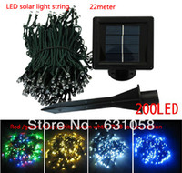 Wholesale Christmas Solar Lights Sale - Wholesale-Hot Sale Free Shipping 22m 200 LED Solar String Lights multicolor Lamp Outdoor waterproof Garden rode building Xmas Decoration