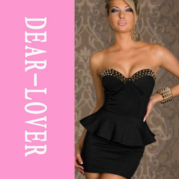 Wholesale Sexi Black - Wholesale-2015 vestidos club sexi Black Fashion Wrapped Chest Mini Bodycon Prom Dress saias curtas femininas vestidos para festa LC2660