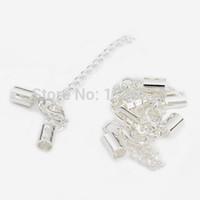 Wholesale Chain End Caps - Wholesale-20 set lot Clip Inner Hole Size 5mm Clip Cap &Lobster Clasp Bead Caps End Caps Fitting Chain And Bracelet DIY Jewellery