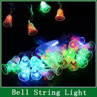 Wholesale Cheapest String Lights - Wholesale-Cheapest! 2015 New 5M 28 LED Small Bell String LED Fairy Light Christmas Xmas Party Wedding Decoration 100-240V US Plug b4