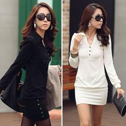 En gros-en gros 2015 nouvelle robe d'hiver femmes causal v-cou à manches longues soirée soirée Mini sac hanche robes de travail noir / blanc 12 ? partir de fabricateur