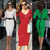 Wholesale Sexy Business Casual Dresses - Wholesale-2015 green Sexy Midi Length white V Neck Office business red women's Pencil sheath bandage bodycon casual women summer dress