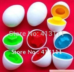 Wholesale Egg Shape Match - Wholesale-6 Piece SET .5Set pack Puzzle Eggs Match Shapes Baby Kid Match Wise Smart Learning Kitchen Toy supper kids christmas gift