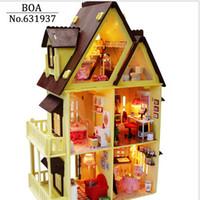 3d bulmaca ahşap ev toptan satış-Toptan Satış - Mobilya ile Toptan Diy Ahşap Bebek Evi, Işık Model Oluşturma Setleri 3D Minyatür Dollhouse Bulmaca Bebekler Oyuncak Hediyeler