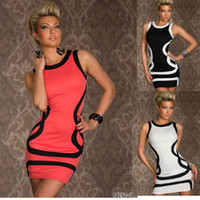 Wholesale Dreeses Sexy - Wholesale-M XXL Sexy Dresses Fashion sexy underwear basic stripe sleeveless prom laciness sexy hip slim one-piece dress club dreeses#D07