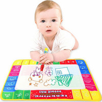 Barato Baby Learning Mats-Venda por atacado-NOVO 29x19cm Baby Kid Water Drawing Mat com caneta mágica Aqua Doodle Child Painting Learning Coloring Writt Board