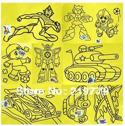 Wholesale Sand Art Sticker Cards - Wholesale-20pcs lot 20.5*27.5cm 16K Kids DIY Colored Sand Painting Toys Sand Art Card Sticker with 9 color Sand Children's Educational