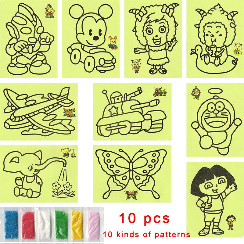 best wholesale cartoon diy color sand painting 10 kinds of patterns kids intelligence education tools art drawing study fun toys gift under 1103 dhgate