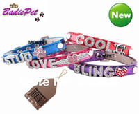 Wholesale Dog Collar Leather Harness - Wholesale-MOQ:12pcs(Mix 5 Colors)!Crystal Buckle Metallic PU Leather DIY Name Dog Collar With 10mm Slide Bar(Price exclude charms)
