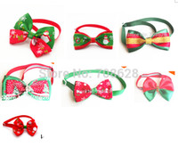 Wholesale Wholesale Bow Ties For Dogs - Wholesale-50PC Lot Mixed Styles Pet Dog Neck Ties For Christmas Holiday Ribbon Bow Ties Dog Adjustable Tie Collars Neckties