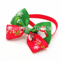 Wholesale Christmas Dog Ties - Wholesale-50PC Lot New Christmas Holiday Dog Bow Ties Collar Cute Snowman Pet Puppy Adjustable Neckties Grooming Ties Accessories