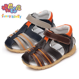 Wholesale Muscle Beach - Wholesale-Free shipping Soft genuine leather male slip-resistant child sandals children shoes baby sandals beach kids summer sandals