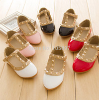 Wholesale Red Girls Princess Shoes - Wholesale-Hot Sale New Pretty Princess Girls Kids Children Sandals Leather Rivet Buckle T-strap Flat Heel Shoes 16 Sizes For 2-10 Years