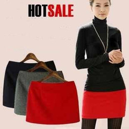 2019 основные юбки Wholesale-2015 Autumn and Winter Woolen Basic Short mini Skirts For Women  Slim Hip Many Colors Classic Fashion wool plus size Skirts дешево основные юбки