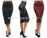 Wholesale Plus Size Yellow Pencil Skirt - Wholesale-free shipping plus size high-waist faux leather pencil skirt black leather skirt S M L XL