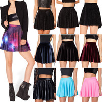 Wholesale Galaxy Printed Skirt - Wholesale-2015 Women Skater Skirts Black Milk Galaxy Purple Skater Skirt Female Galaxy Pleated Skirt for Women S M L XL Free Shipping