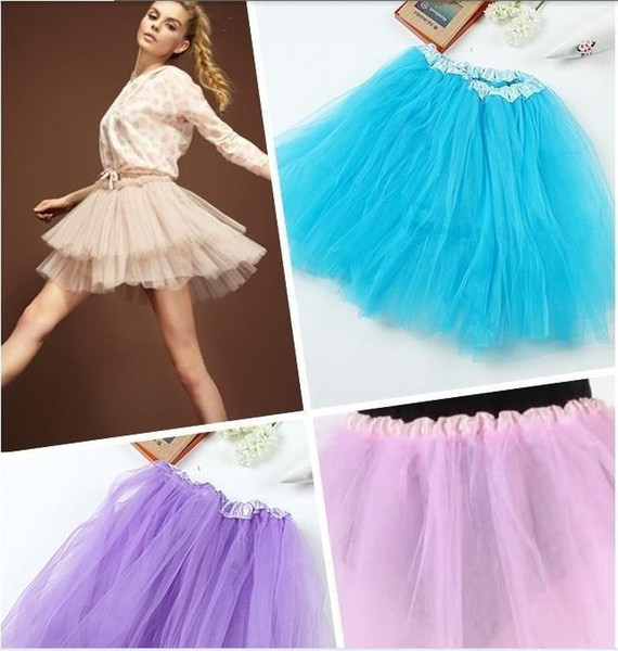 Wholesale-2015 Hot Women Girl Pretty Elastic Stretchy Tulle Teen 3 Layer Adult Tutu Lolita Ballet Skirt 12 Colors Free Shipping 4021
