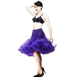 Wholesale Tutu Fabrics - Wholesale-New 2015 Women Soft Fabric 65cm Long Sexy Pleated Chiffon Petticoat Rockabilly Pettiskirt Tulle Tutu Skirt Slip19 Colors